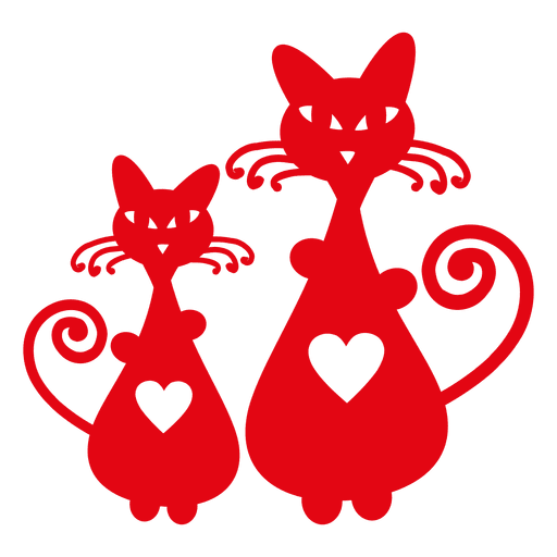 Download Cats silhouette with heart - Transparent PNG & SVG vector file