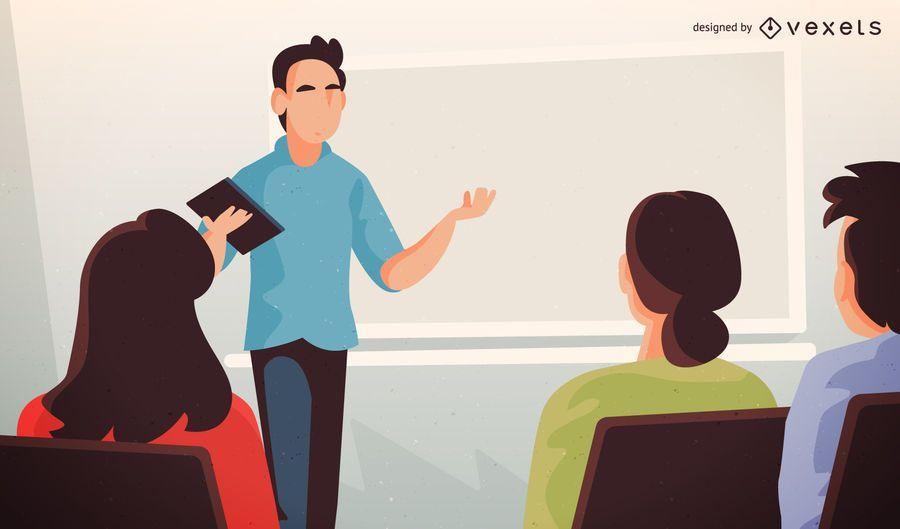 Download College Teacher Illustration With Alumns - Vector Download