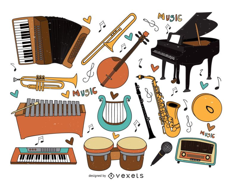 musical instruments cartoons collection - vector download