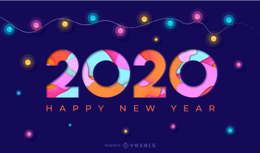 Happy New Year 2020 Papercut Banner Vector Download