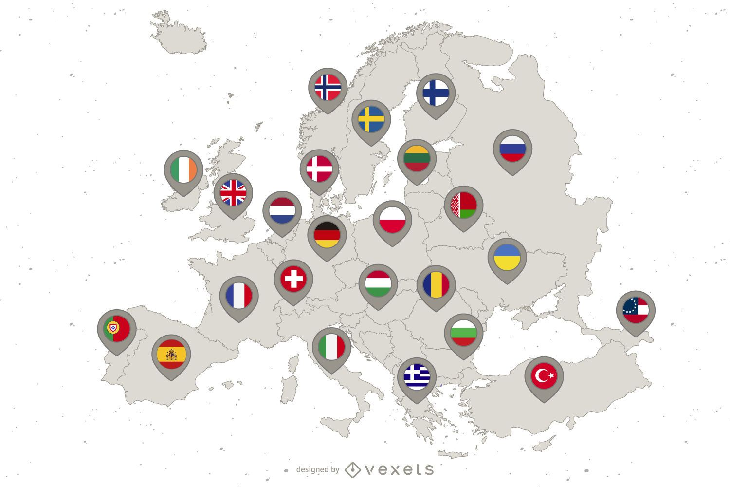 Europe Continent Country Flag Map