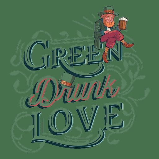 Download Green drunk love lettering - Transparent PNG & SVG vector file