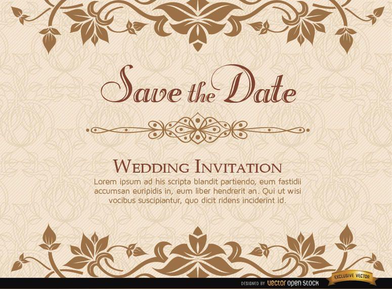 Golden Fl Wedding Invitation Template
