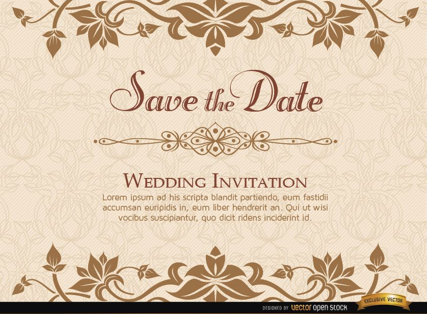 Golden Fl Wedding Invitation Template Large Image 838x616px License User