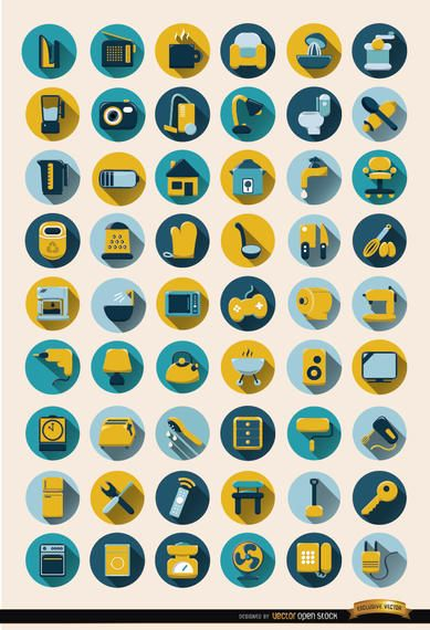 54 Home Objects Round Icons Set Vector Download