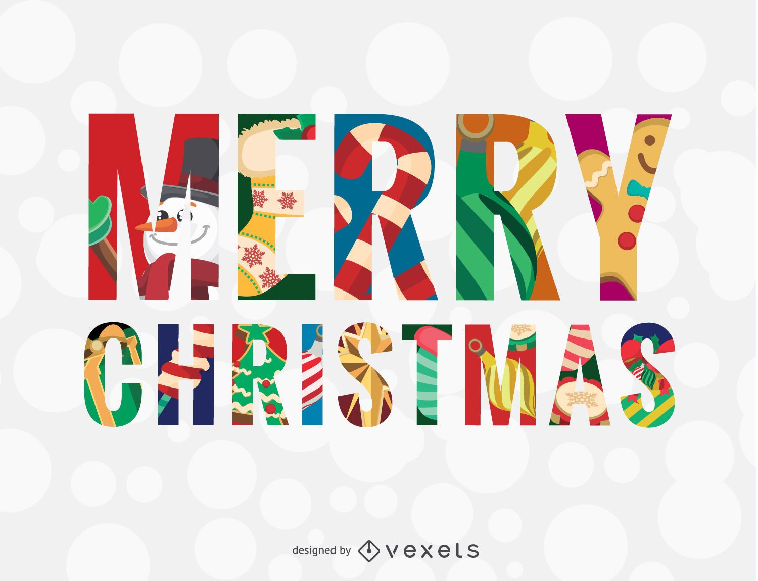Merry Christmas Colorful Message Vector Download