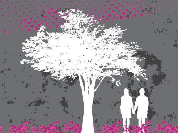 Grey Tree White Background