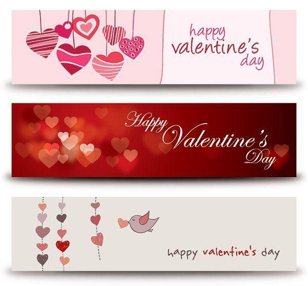 Valentine Heart Banner Set Vector Download