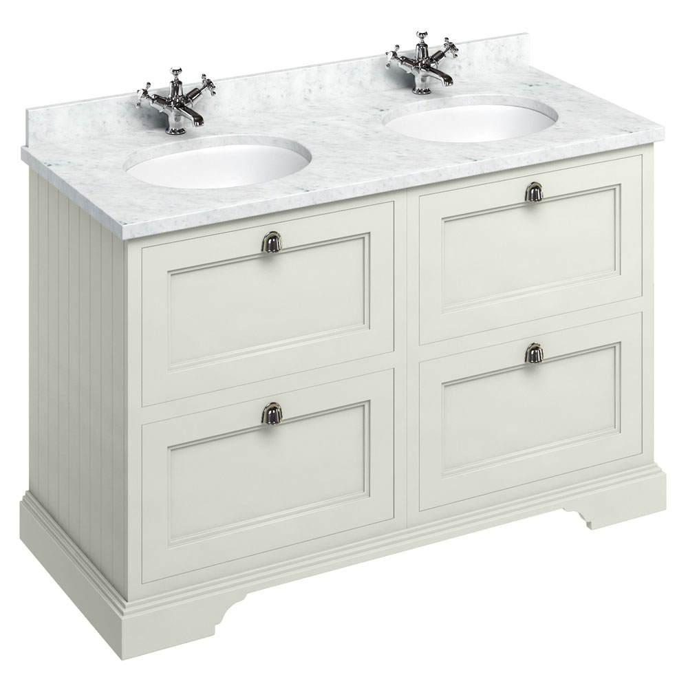 Burlington 130 4 Drawer Vanity Unit Minerva Worktop With Double Basin Sand