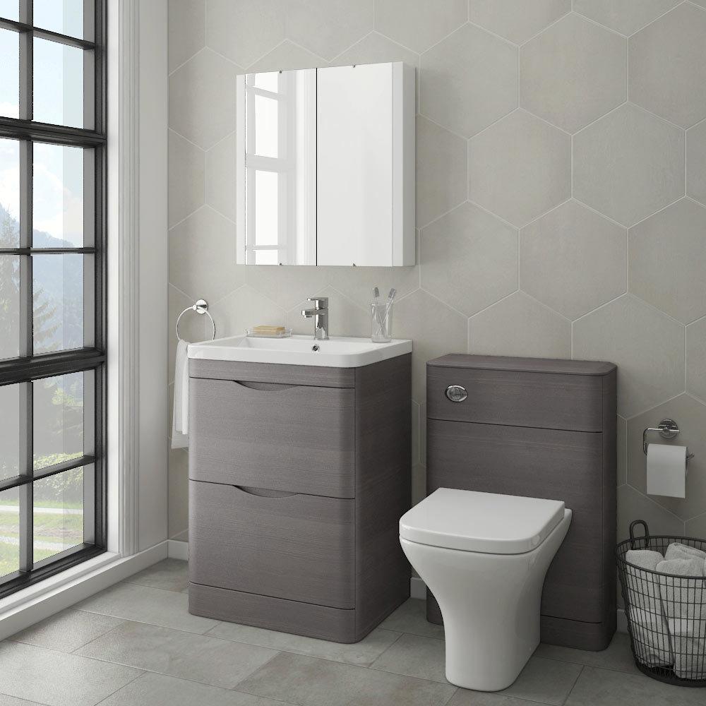 Monza Modern Stone Grey Sink Vanity Unit + Toilet Package ...
