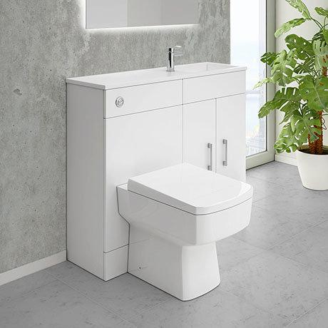 Slimline Combination Basin Toilet Unit White Gloss Online Now