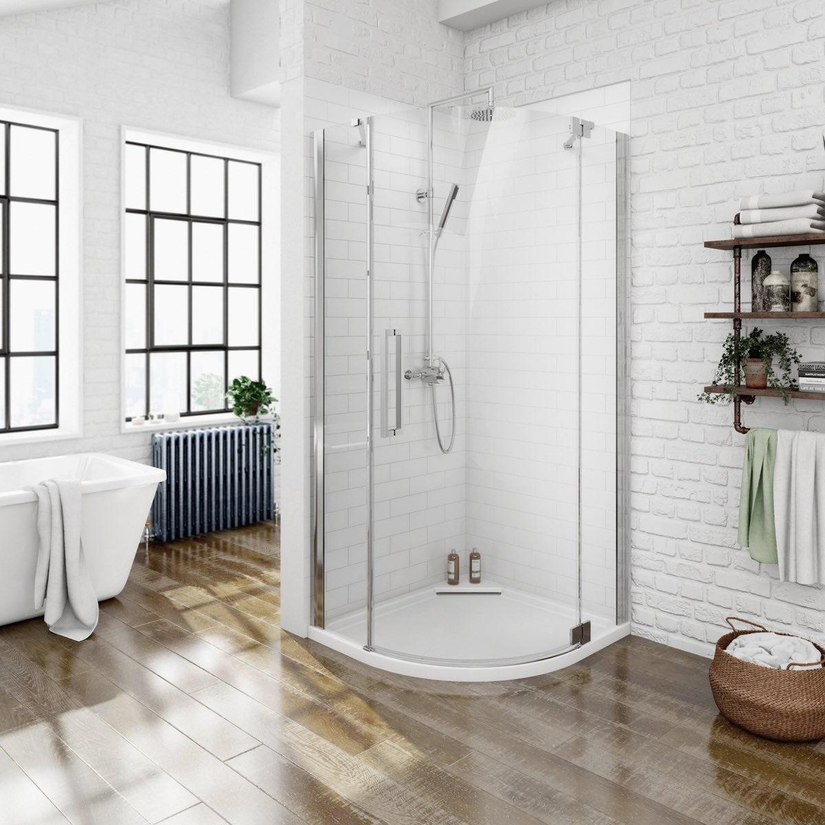 Luxury 8mm Right Handed Frameless Hinged Door Quadrant Shower Enclosure 800 X 800