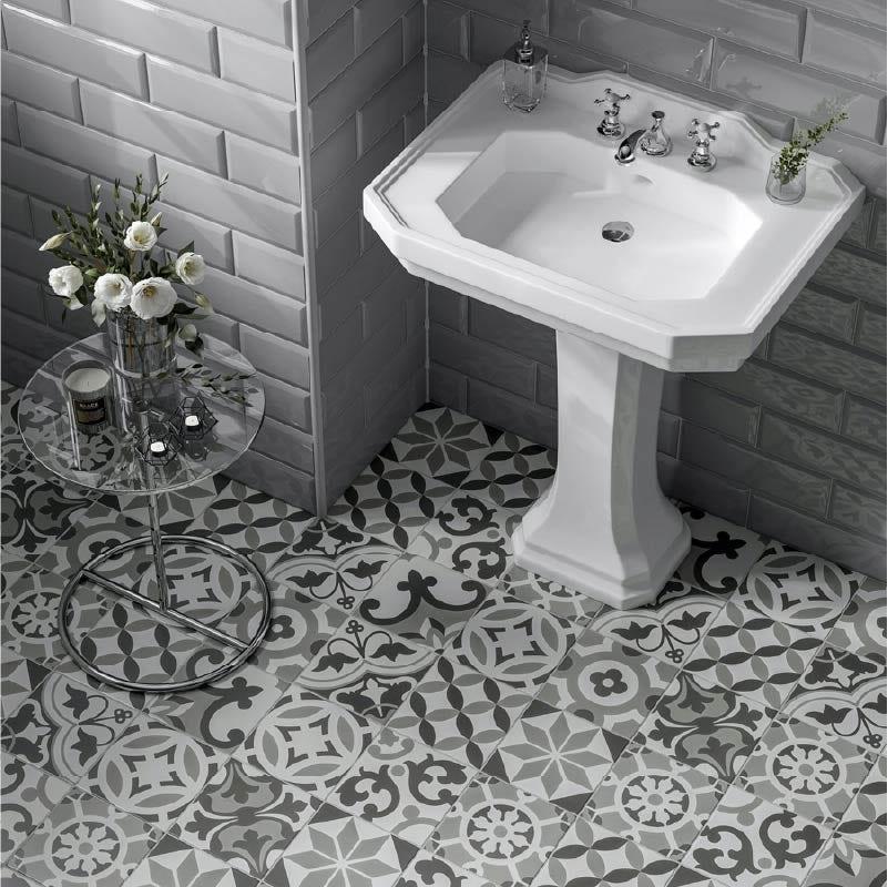 and white floor tiles