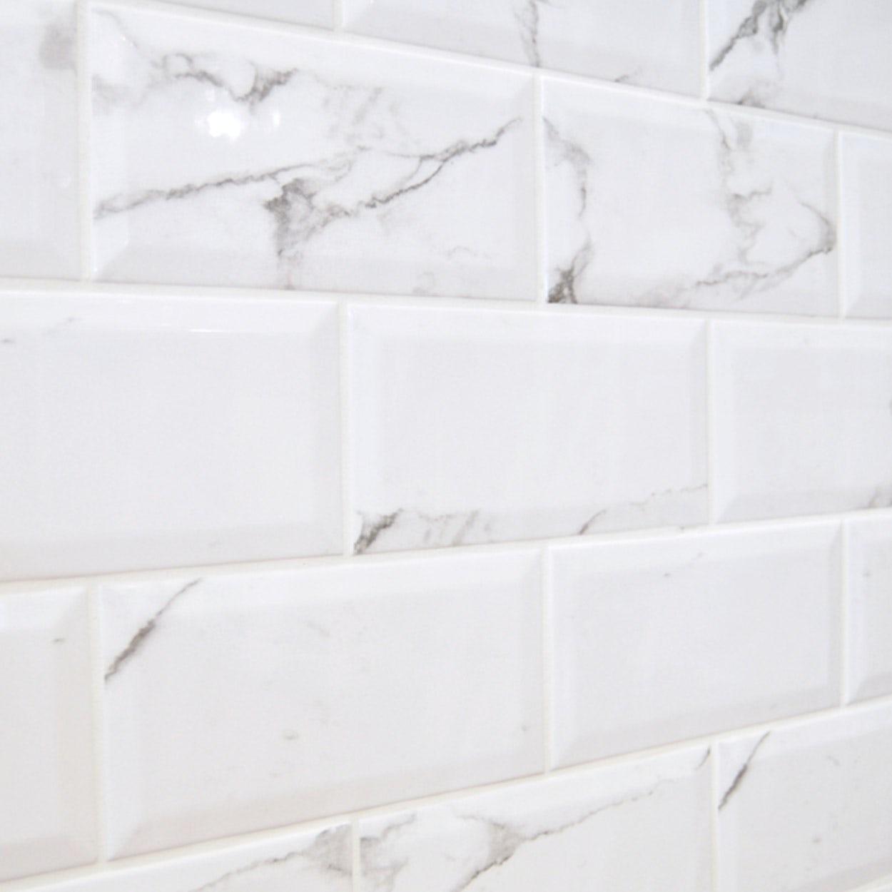 metro carrara white bevelled brick wall tile 100mm x 200mm