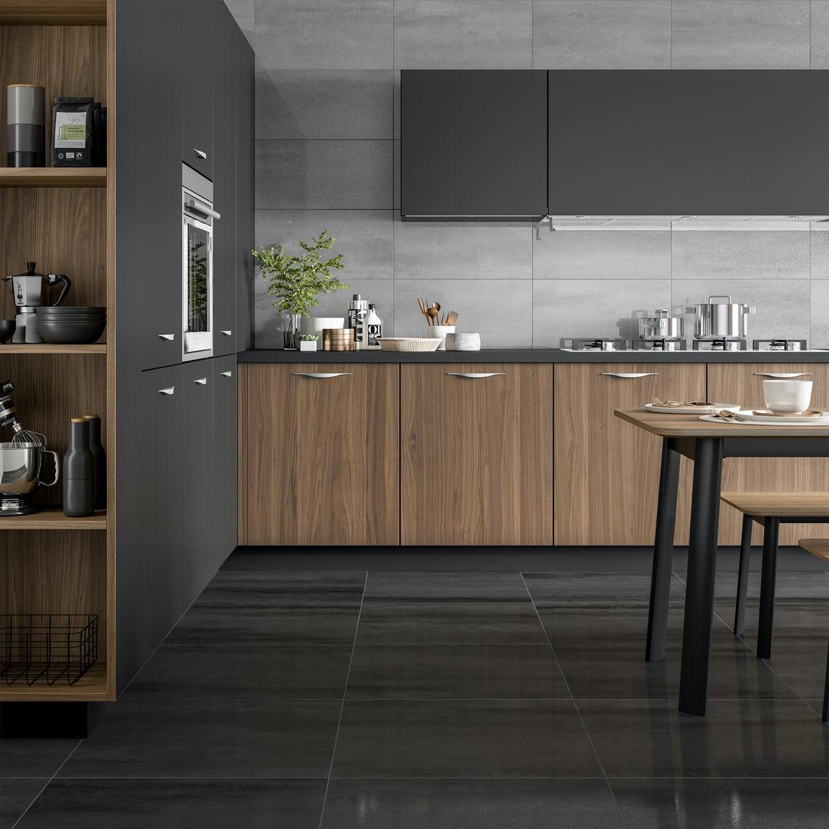 Mode Amadeus Black Stone Effect Matt Wall And Floor Tile 600mm X 600mm Victoriaplum Com