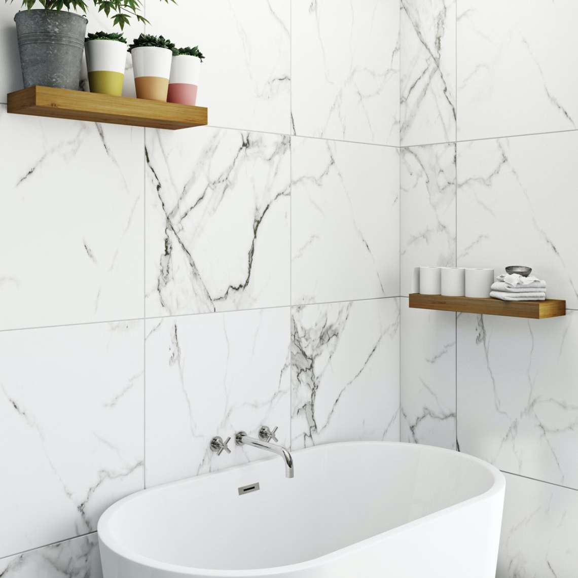 Polar white marble effect matt wall and floor tile 600mm x 600mm ...