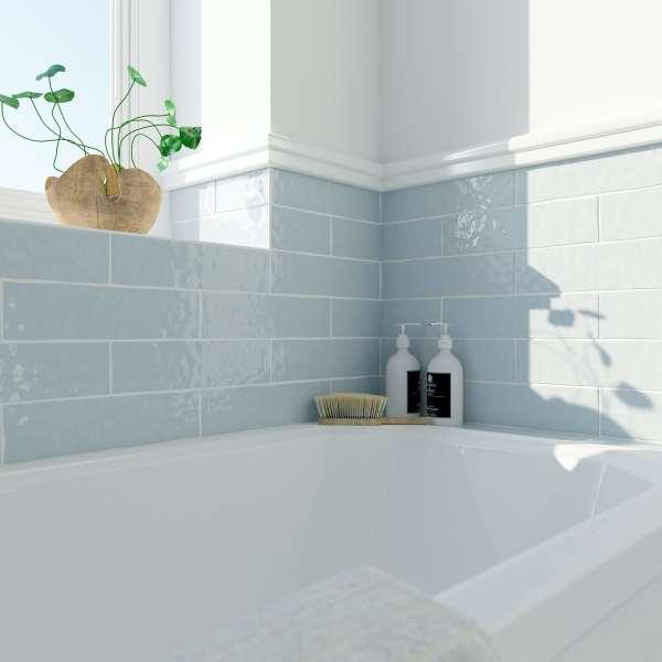 Laura Ashley Artisan Seaspray Blue Gloss Wall Tile 75mm X