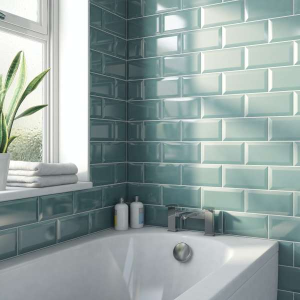 metro subway turquoise bevelled gloss wall tile 100mm x 200mm