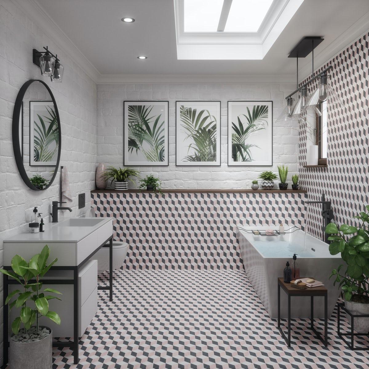 British Ceramic Tile Illusion Feature Matt Wall And Floor