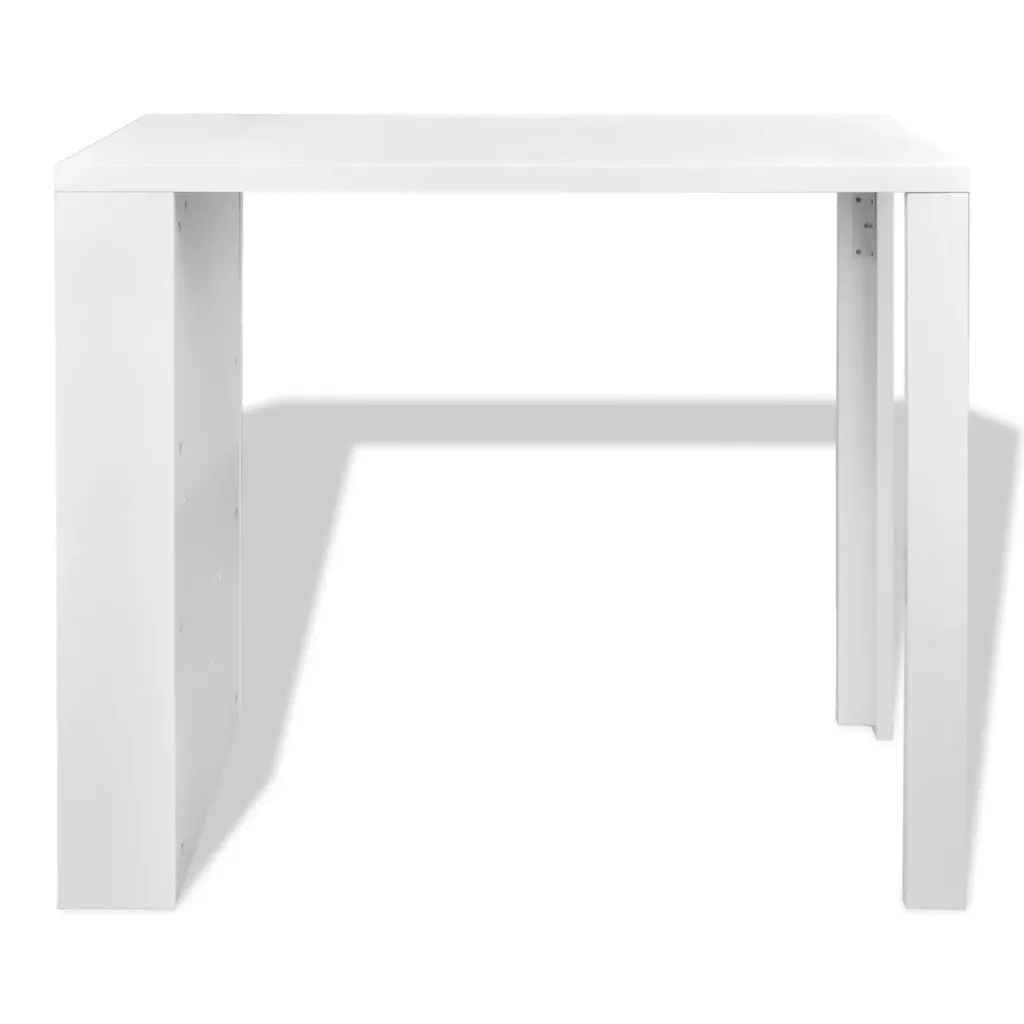 High Gloss Bar Coffee Table Dining Table 3 Layer Rack White
