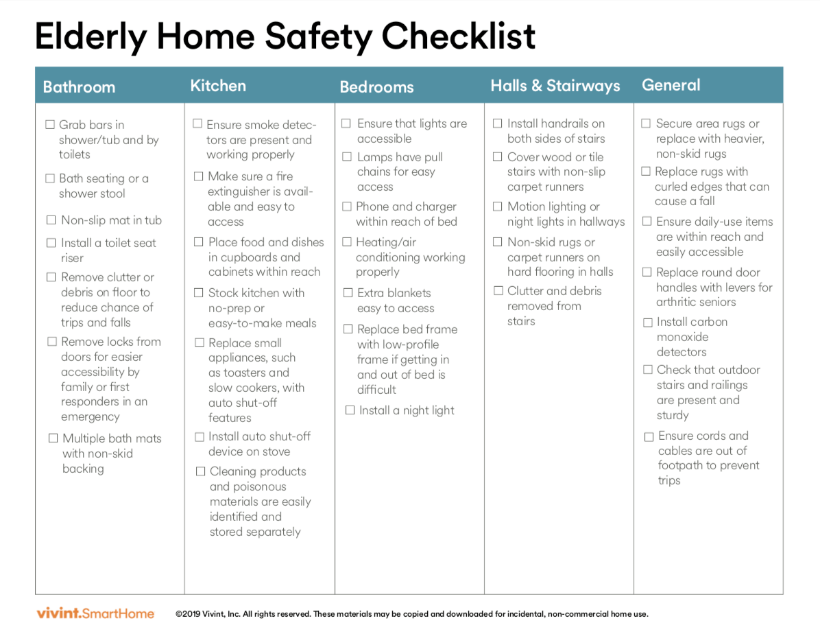 Elderly Home Safety Checklist Make Home Safer For Your