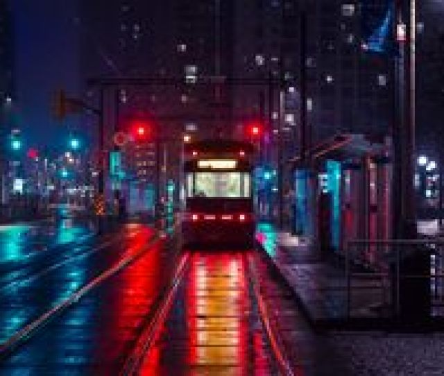 Preview Wallpaper Trolley Stop City Evening Lighting