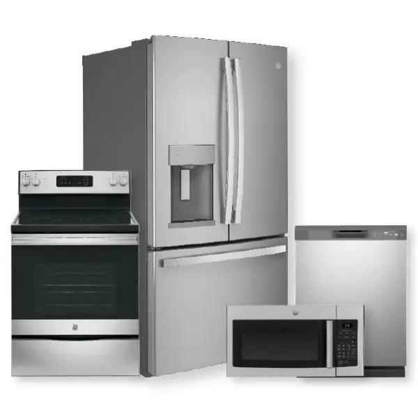 ge 27 7 cu ft fingerprint resistant french door refrigerator electric range package open box