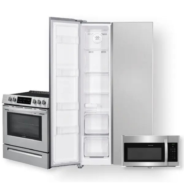 18 8 cu ft 36 inch counter depth side by side refrigerator 30 front control freestanding electric range package