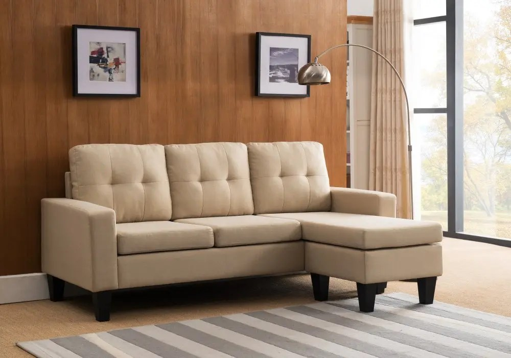 8023 beige tufted back sectional sofa