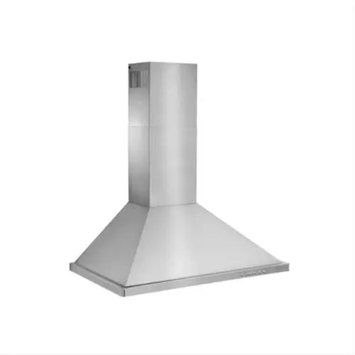 """36"""" Brushed Stainless Steel Wall Mount Chimney Hood with Internal 675 Max CFM Blower"""