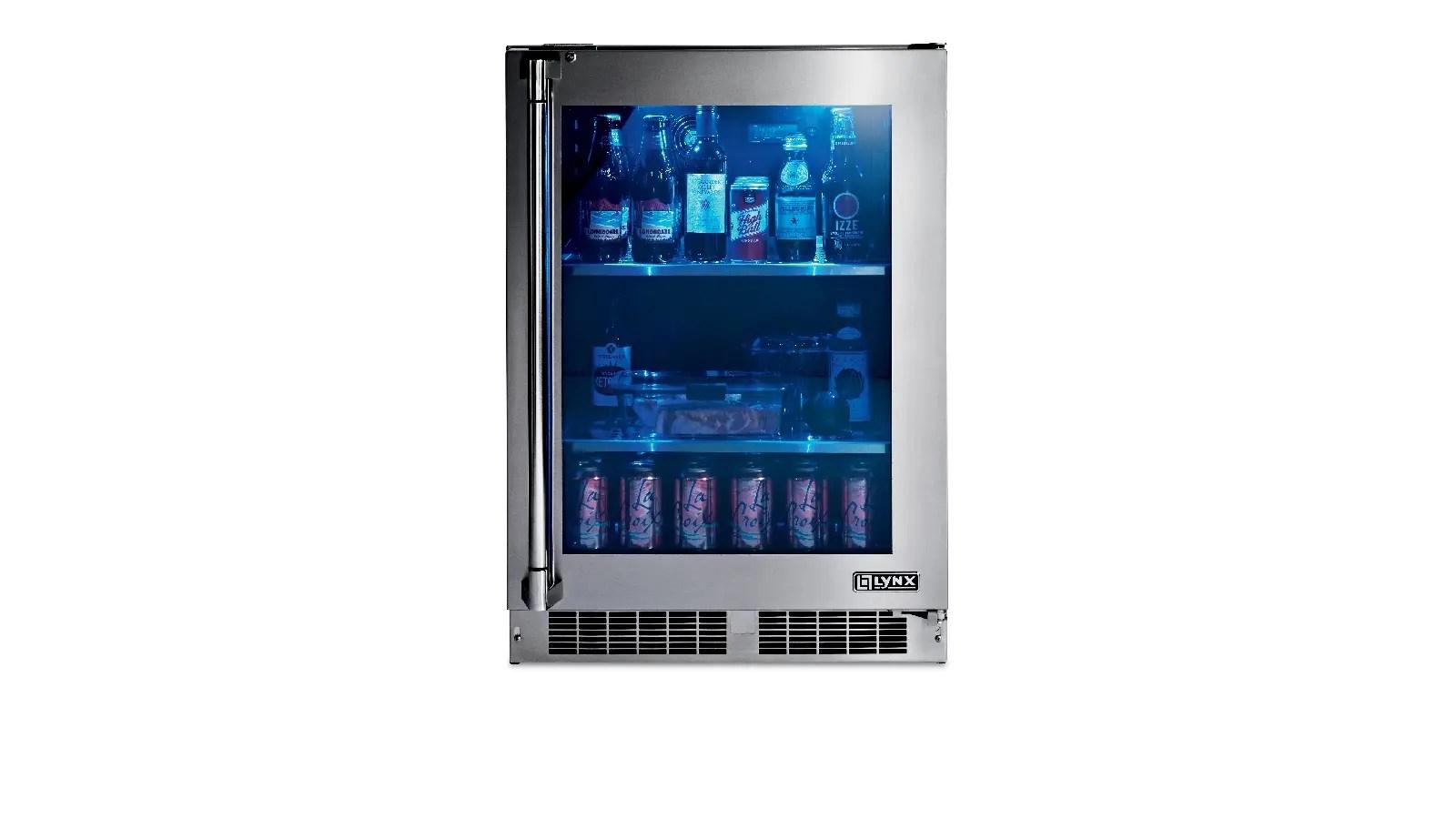 """24"""" Outdoor Glass Door Refrigerator, Right Hinge"""