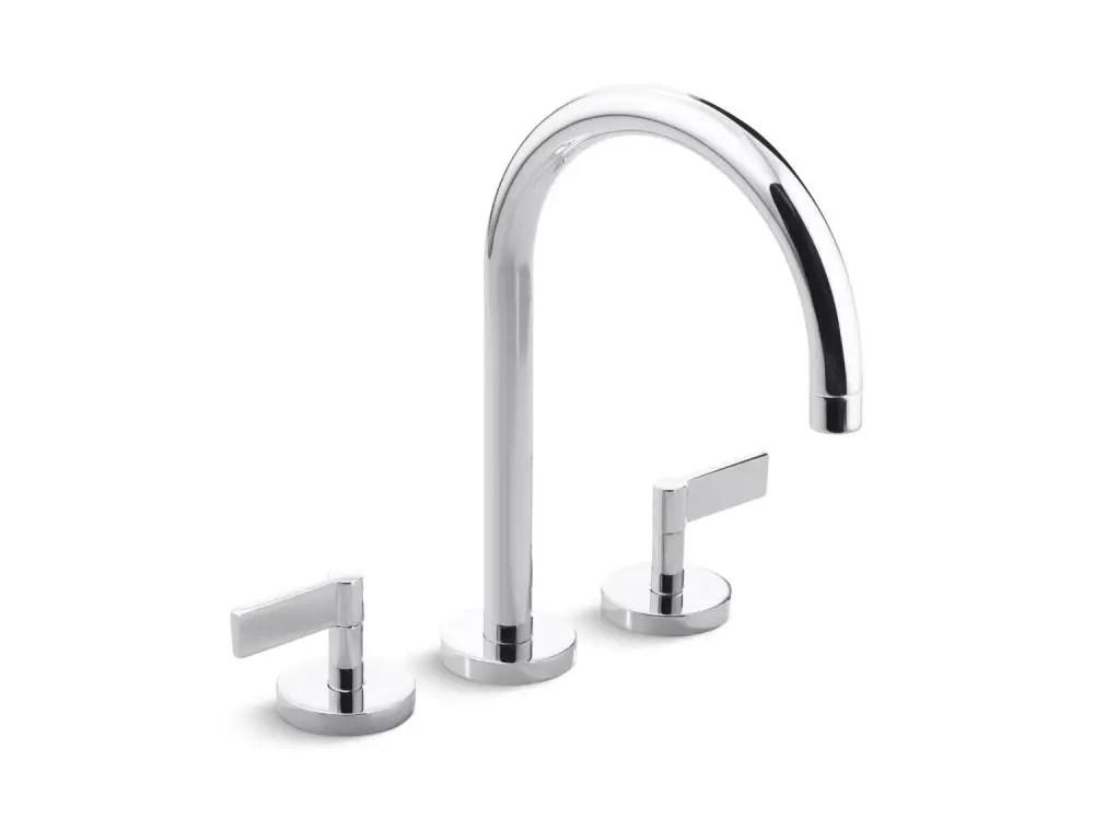 deck mount bath faucet gooseneck spout lever handles brushed nickel