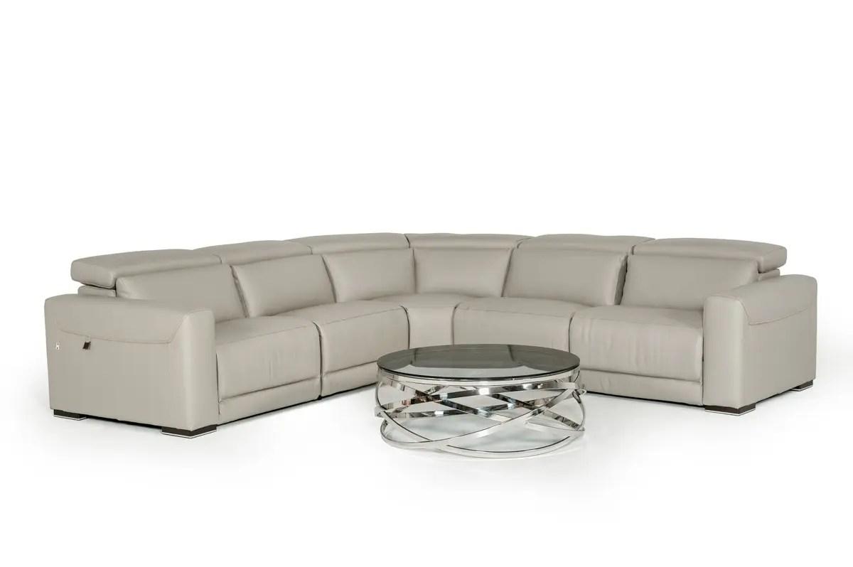 estro salotti thelma modern grey leather sectional sofa w recliners