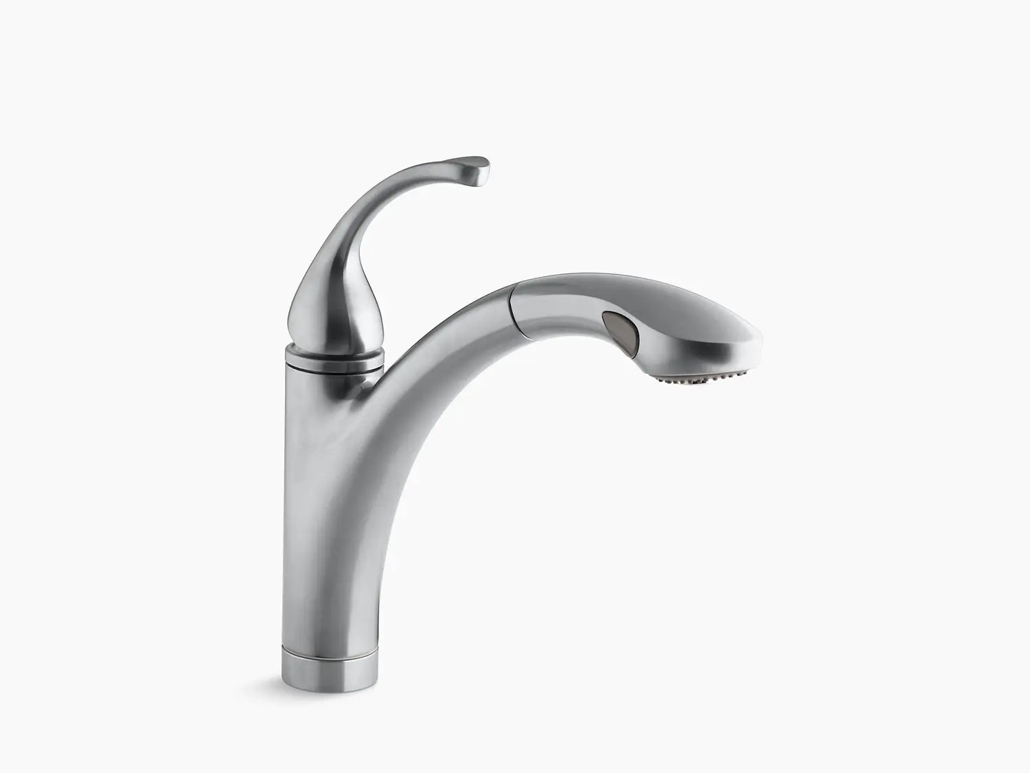 brushed chrome single hole or 3 hole kitchen sink faucet with 10 1 8 pull out spray spout