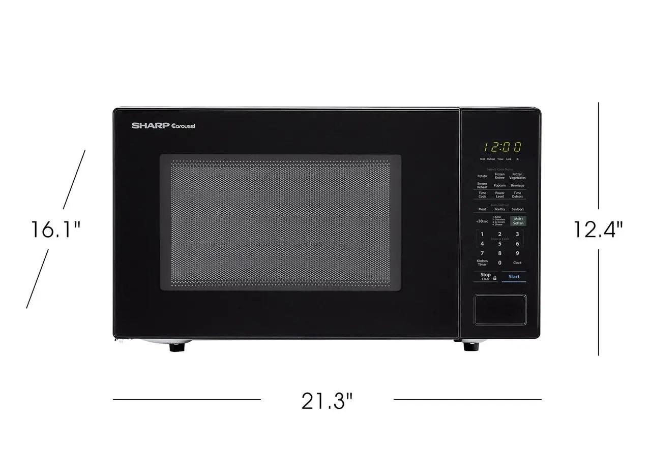 1 4 cu ft 1000w sharp black countertop microwave oven
