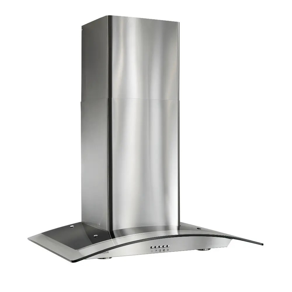 30-Inch Arched Glass Wall-Mount Chimney Range Hood, 450 CFM, Stainless Steel