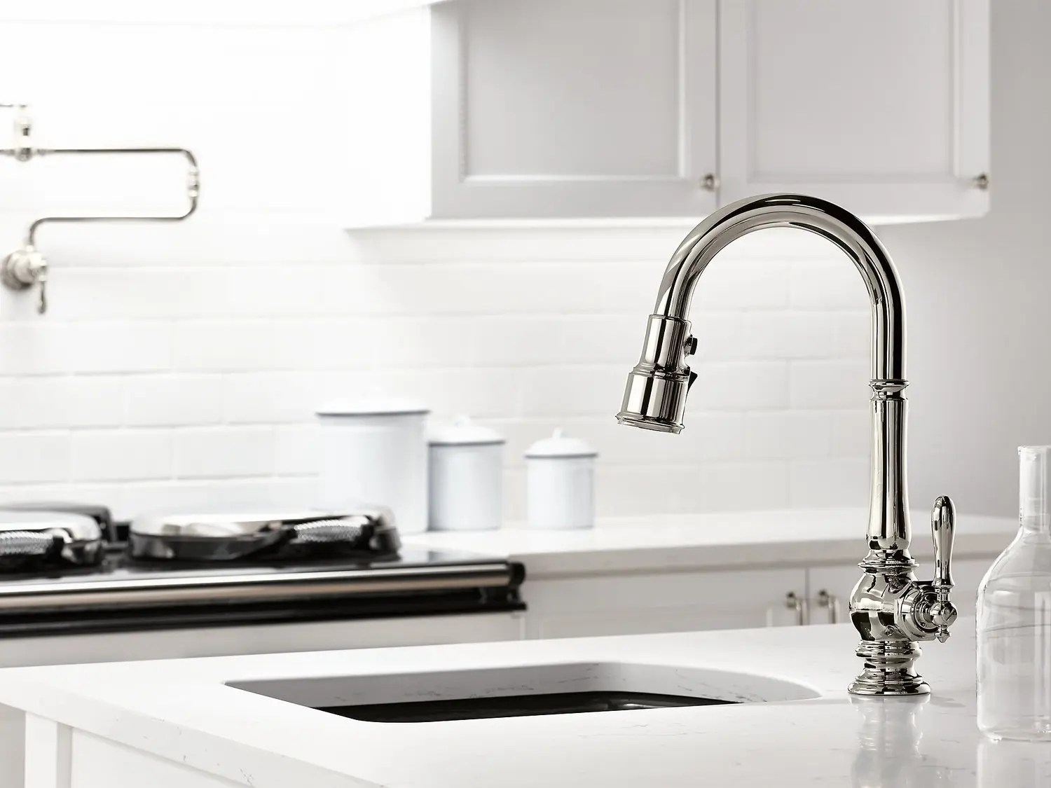 oil rubbed bronze single hole kitchen sink faucet with 16 pull down spout and turned lever handle docknetik magnetic docking system and 3 function