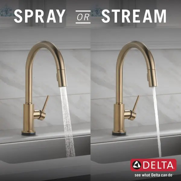 champagne bronze single handle pull down kitchen faucet with touch 2 o technology