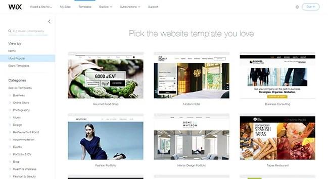 Une sélection de modèles de sites Web fournis par Wix