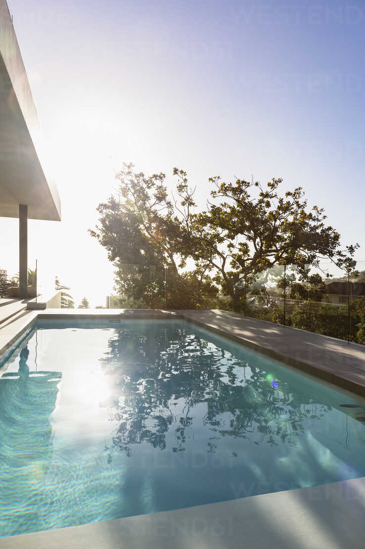 tranquil sunny reflection of tree over lap swimming pool on luxury patio stockphoto