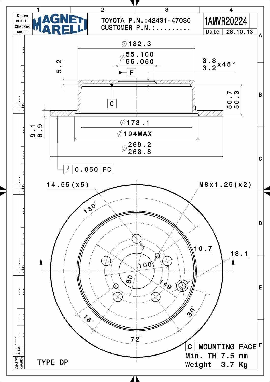 Toyota Corolla Disc Brake Rotor Parts