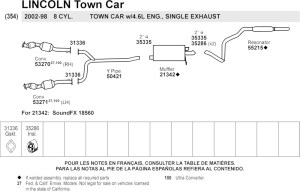 2000 Lincoln Town Car  All Exhaust & Diagrams Parts