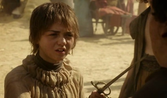 Arya looking scruffy, sword-wielding and awesome