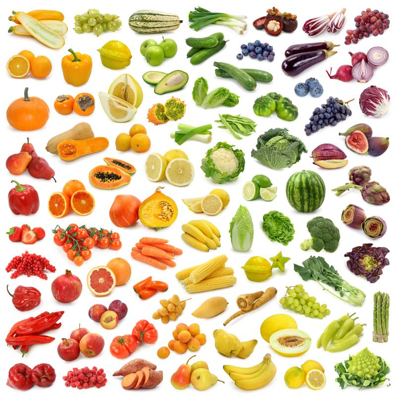 fruits and vegetables arranged by color