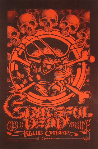 "Grateful Dead Poster from Shrine Auditorium on 11 Jul 68: 15"" x 22 3/4"""