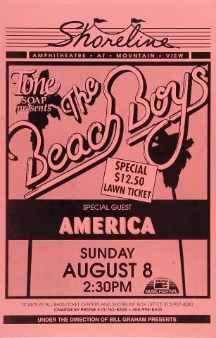 the beach boys vintage concert poster from shoreline amphitheatre aug 8 1993 at wolfgang s