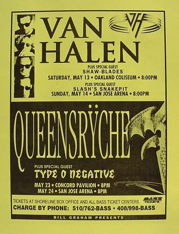 van halen vintage concert handbill from concord pavilion at wolfgang s