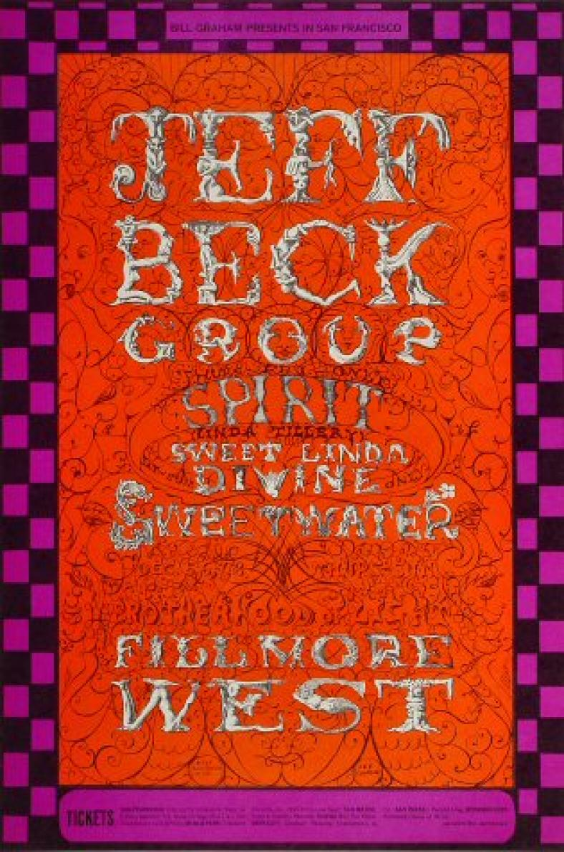 Jeff Beck Group Vintage Concert Poster From Fillmore West