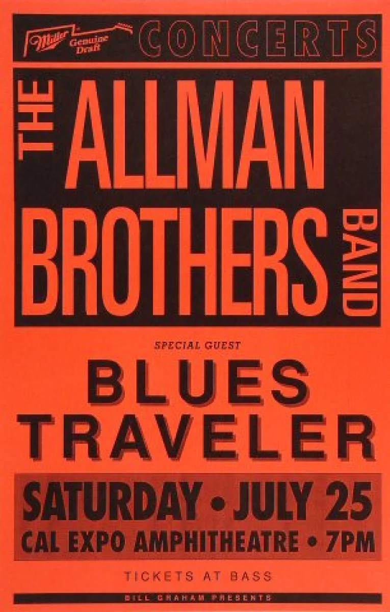 the allman brothers band vintage concert poster from cal expo amphitheater jul 25 1992 at wolfgang s