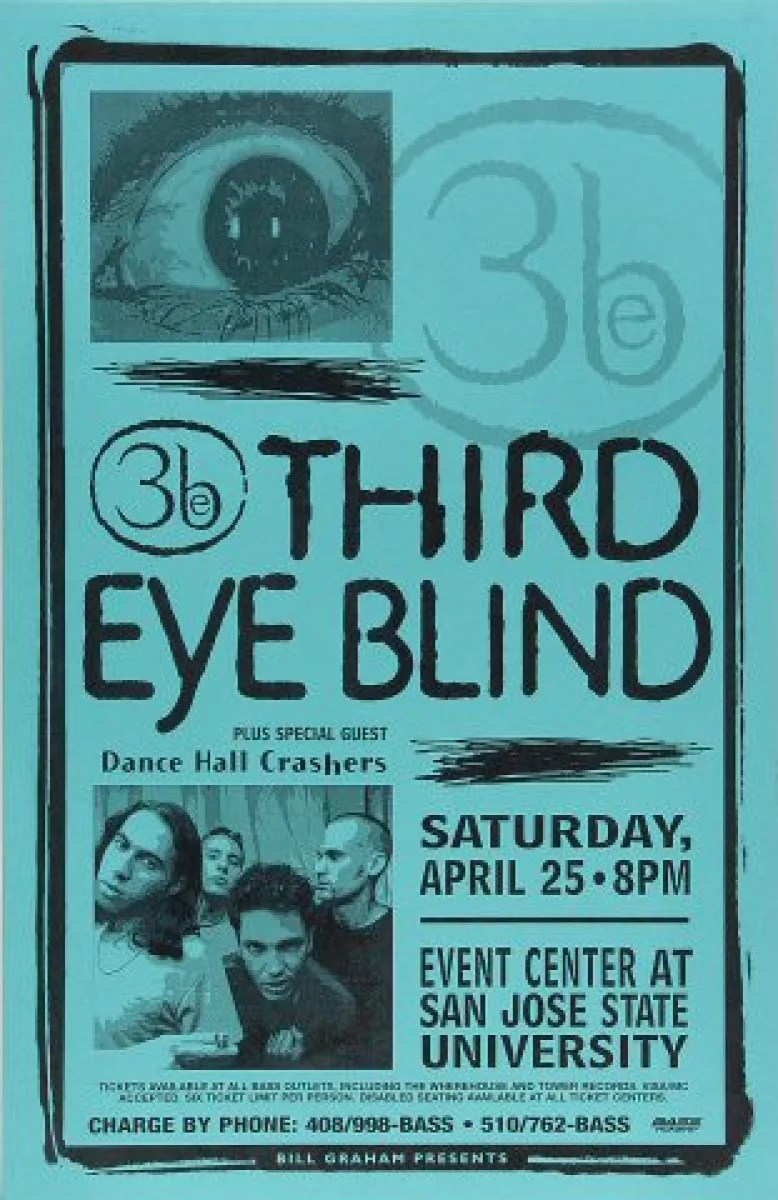 third eye blind vintage concert poster from san jose state event center apr 25 1998 at wolfgang s